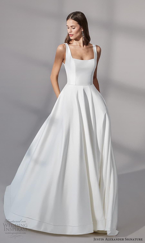 justin alexander signature fall 2021 bridal sleeveless straps square neckline clean minimalist a line ball gown wedding dress chapel train (10) mv