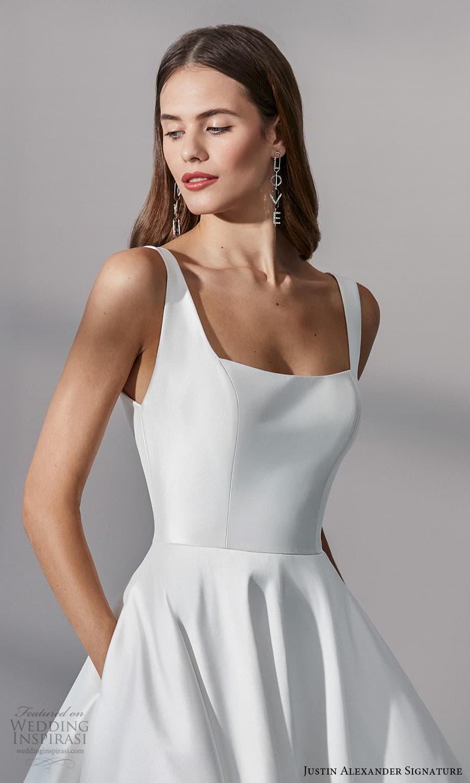 justin alexander signature fall 2021 bridal sleeveless straps square neckline clean minimalist a line ball gown wedding dress chapel train (10) zv