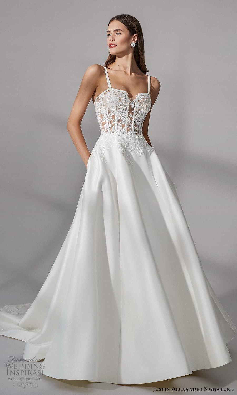 justin alexander signature fall 2021 bridal sleeveless straps square neckline embellished bodice a line ball gown wedding dress (2) mv