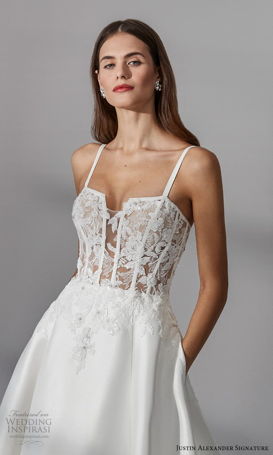 justin alexander signature fall 2021 bridal sleeveless straps square neckline embellished bodice a line ball gown wedding dress (2) zv