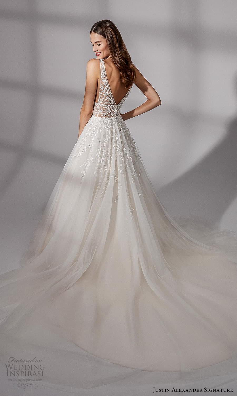 justin alexander signature fall 2021 bridal sleeveless straps v neckline embellished bodice a line ball gown wedding dress chapel train (16) bv