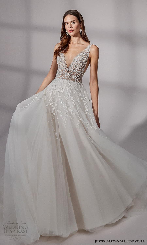 justin alexander signature fall 2021 bridal sleeveless straps v neckline embellished bodice a line ball gown wedding dress chapel train (16) mv