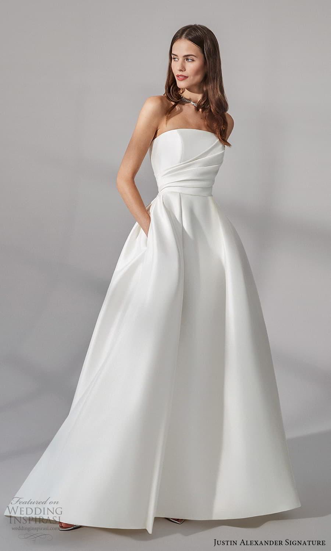 justin alexander signature fall 2021 bridal straples straight across neckline clean minimalist a line wedding dress slit skirt (6) mv