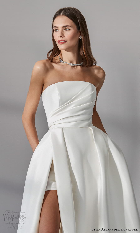 justin alexander signature fall 2021 bridal straples straight across neckline clean minimalist a line wedding dress slit skirt (6) zv
