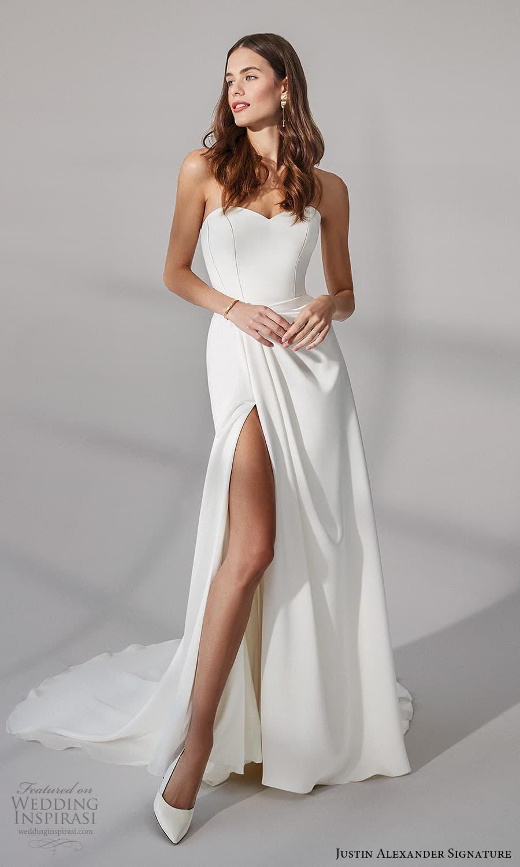 justin alexander signature fall 2021 bridal strapless sweetheart neckline clean minimalist sheath wedding dress sweep train (4) mv