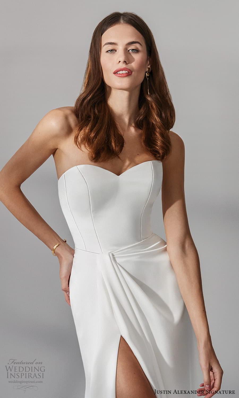 justin alexander signature fall 2021 bridal strapless sweetheart neckline clean minimalist sheath wedding dress sweep train (4) zv