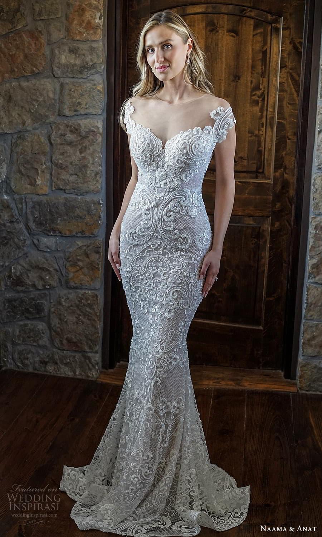 naama anat 2022 bridal cap sleeves off shoulder sweetheart neckline fully embellished sheath wedding dress chapel train (10) mv