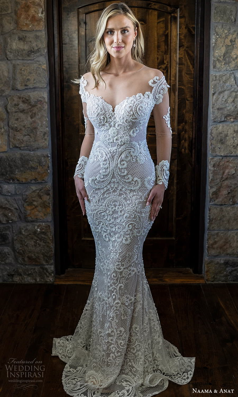 naama anat 2022 bridal illusion long sleeves off shoulder sweetheart neckline fully embellished sheath wedding dress chapel train (10) mv