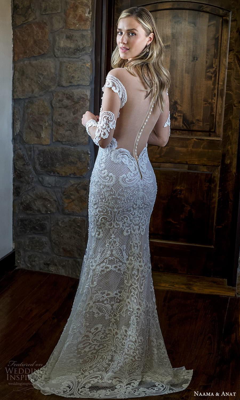 naama anat 2022 bridal illusion long sleeves off shoulder sweetheart neckline fully embellished sheath wedding dress chapel train low back (10) bv