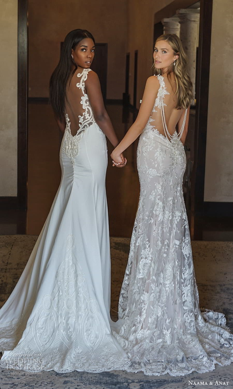 naama anat 2022 bridal long sleeves plunging v neckline fully embellished sheath wedding dress chapel train (9) bv