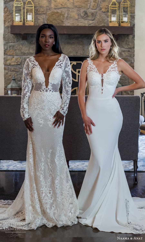 naama anat 2022 bridal long sleeves plunging v neckline fully embellished sheath wedding dress chapel train (9) mv