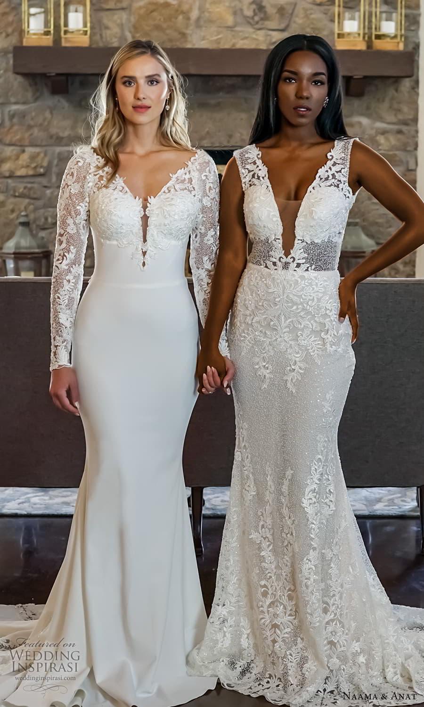 naama anat 2022 bridal long sleeves v neckline embellished bodice sheath wedding dress chapel train (8) mv