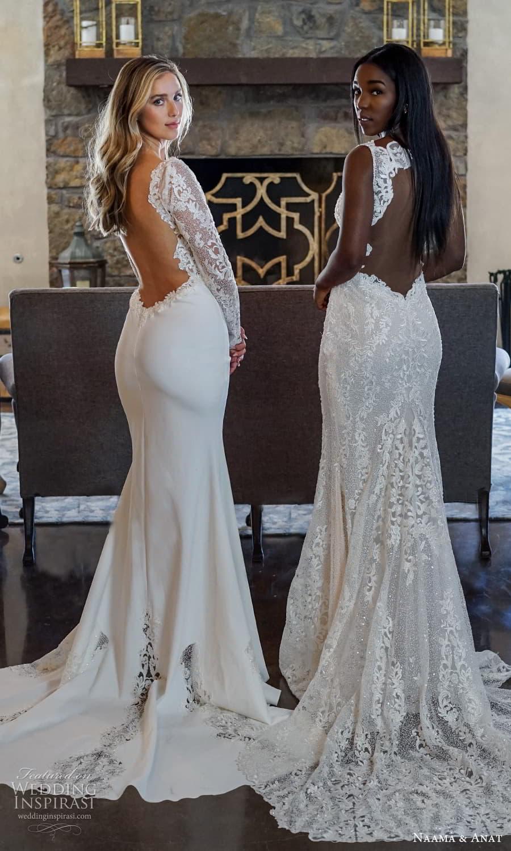naama anat 2022 bridal long sleeves v neckline embellished bodice sheath wedding dress chapel train low back (8) bv