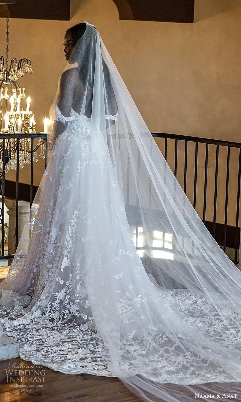 naama anat 2022 bridal off shoulder straps sweetheart neckline fully embellished a line ball gown wedding dress chapel train veil (6) bv