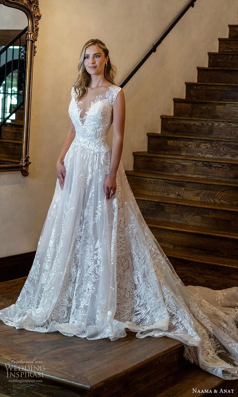 naama anat 2022 bridal semi cap sleeves sweetheaert neckline fully embellished a line ball gown wedding dress chapel train (7) mv