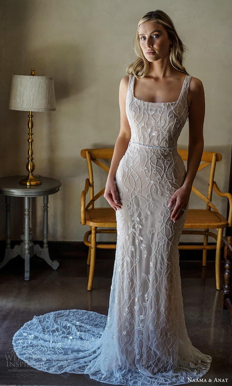 naama anat 2022 bridal sleeveless straps square neckline fully embellished sheath wedding dress chapel train (2) mv