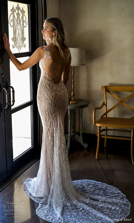 naama anat 2022 bridal sleeveless straps square neckline fully embellished sheath wedding dress chapel train low back (2) bv