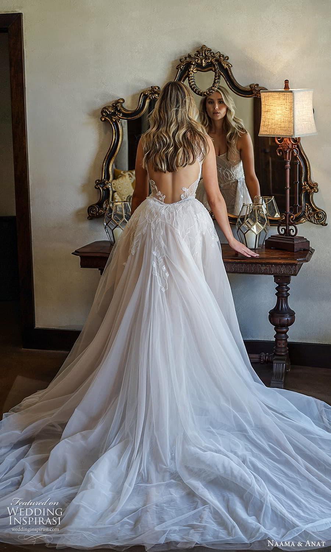 naama anat 2022 bridal sleeveless straps square neckline fully embellished sheath wedding dress chapel train low back a line overskirt (2) bv