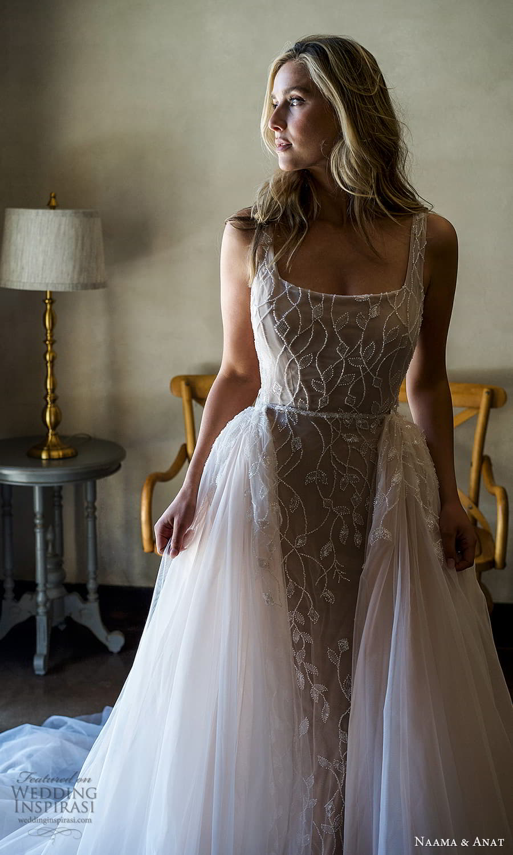 naama anat 2022 bridal sleeveless straps square neckline fully embellished sheath wedding dress chapel train low back a line overskirt (2) zv
