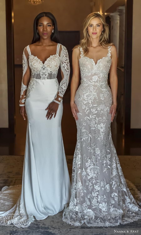 naama anat 2022 bridal sleeveless straps sweetheart neckline fully embellished lace sheath wedding dress chapel train (1) fv