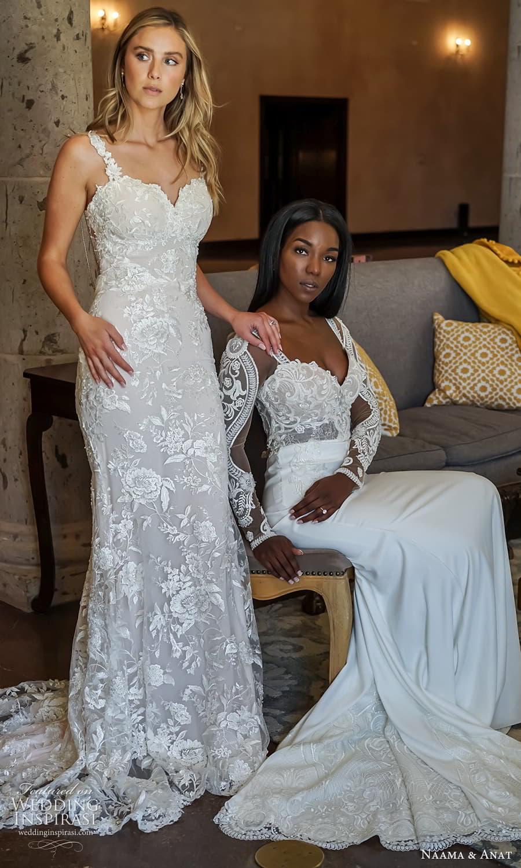 naama anat 2022 bridal sleeveless straps sweetheart neckline fully embellished lace sheath wedding dress chapel train (1) mv