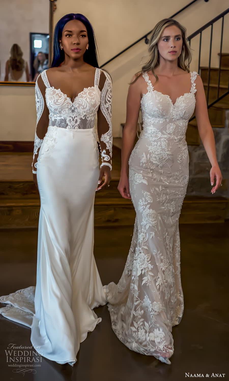 naama anat 2022 bridal sleeveless straps sweetheart neckline fully embellished lace sheath wedding dress chapel train (1) sv