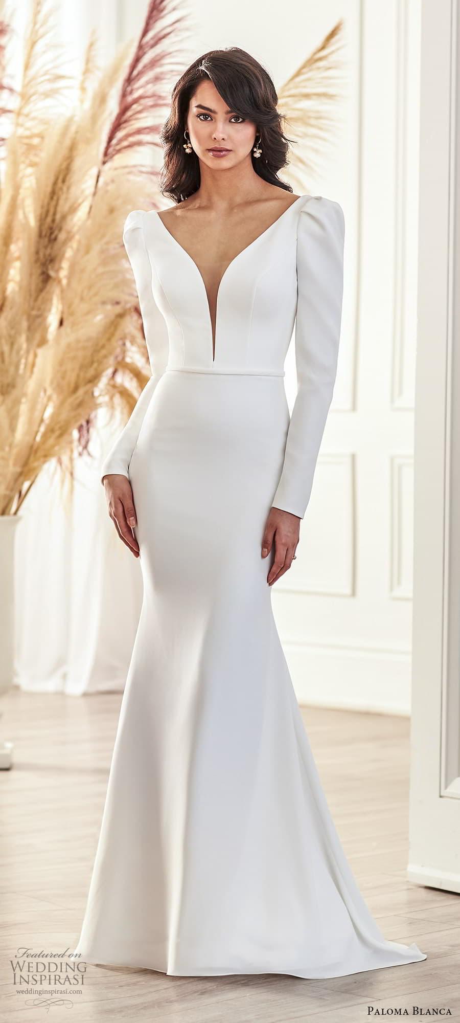 paloma blanca fall 2021 bridal long puff sleeve plunging v neckline clean minimalist sheath wedding dress sweep train (1) mv