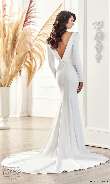 paloma blanca fall 2021 bridal long puff sleeve plunging v neckline clean minimalist sheath wedding dress sweep train cowl back (1) bv
