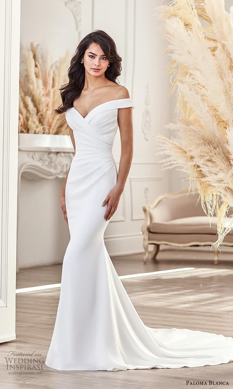 paloma blanca fall 2021 bridal off shoulder straps sweetheart neckline ruched bodice clean minimalist sheath wedding dress chapel train (5) mv