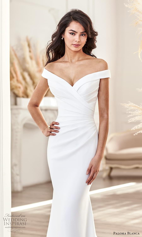 paloma blanca fall 2021 bridal off shoulder straps sweetheart neckline ruched bodice clean minimalist sheath wedding dress chapel train (5) zv