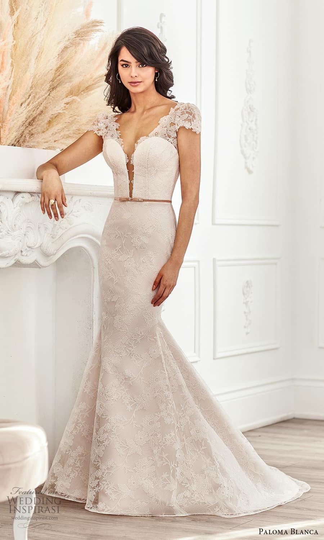 paloma blanca fall 2021 bridal sheer short puff sleeves plunging v neckline fully embellished lace fit flare wedding dress chapel train (4) mv