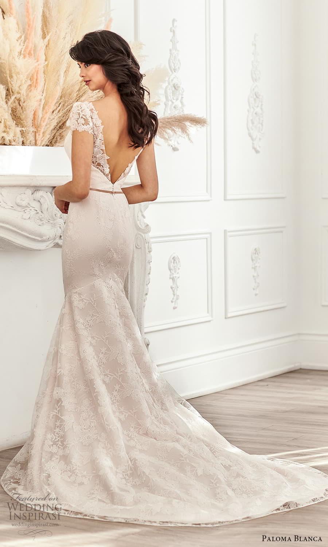 paloma blanca fall 2021 bridal sheer short puff sleeves plunging v neckline fully embellished lace fit flare wedding dress chapel train v back (4) bv