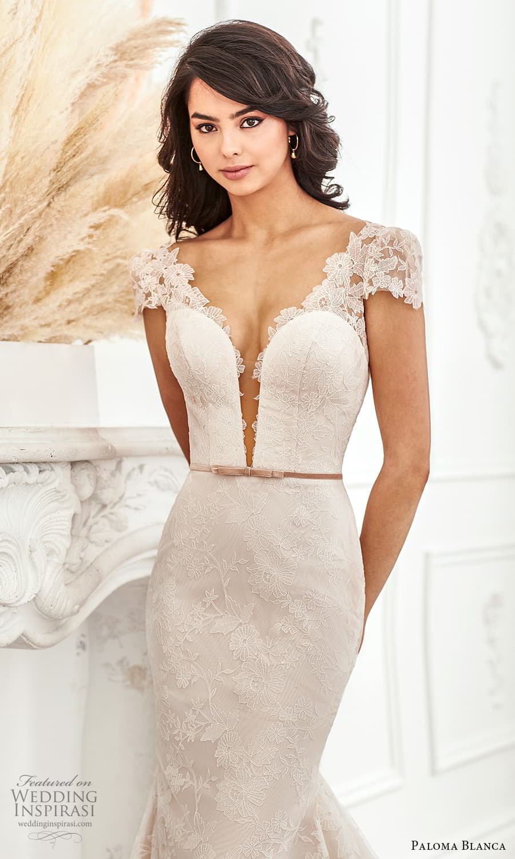 paloma blanca fall 2021 bridal sheer short puff sleeves plunging v neckline fully embellished lace fit flare wedding dress chapel train v back (4) zv