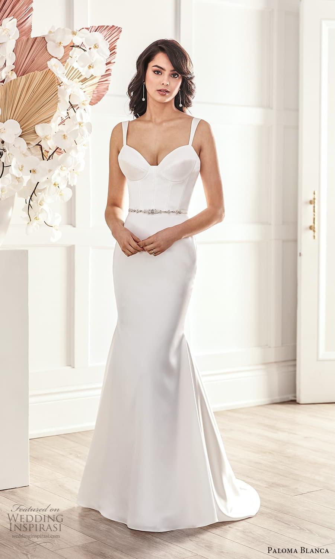 paloma blanca fall 2021 bridal sleeveless straps sweetheart neckline clean minimalist fit flare sheath wedding dress chapel train (6) mv