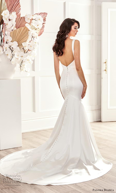 paloma blanca fall 2021 bridal sleeveless straps sweetheart neckline clean minimalist fit flare sheath wedding dress chapel train low back (6) bv