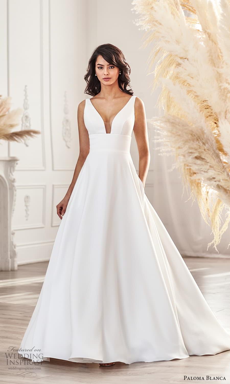 paloma blanca fall 2021 bridal sleeveless straps v neckline clean minimalist simple a line wedding dress pocket chapel train (9) mv