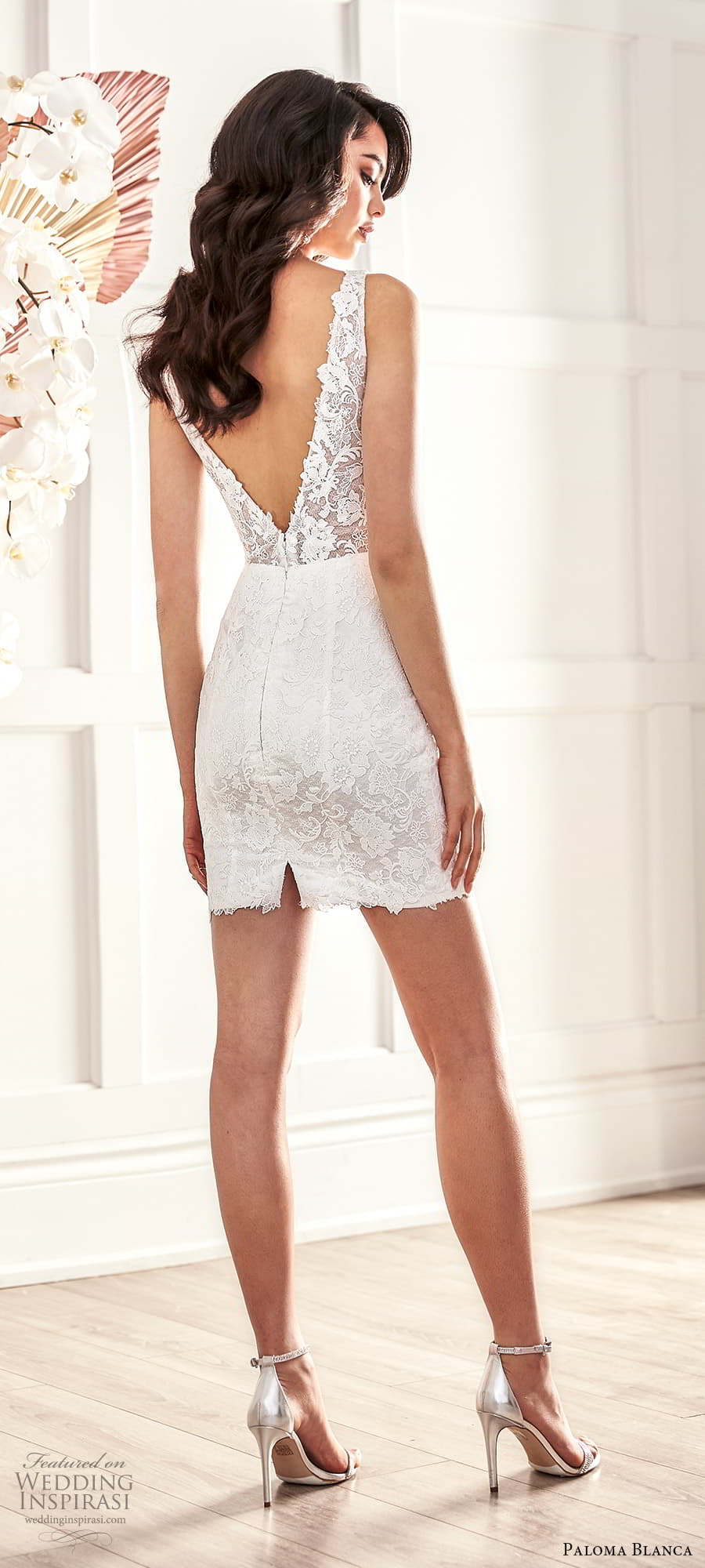 paloma blanca fall 2021 bridal sleeveless straps v neckline embellished lace short wedding dress (7) bv