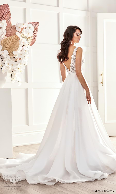 paloma blanca fall 2021 bridal sleeveless straps v neckline embellished lace short wedding dress clean a line overskirt (7) bv