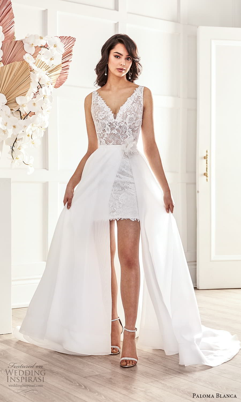 paloma blanca fall 2021 bridal sleeveless straps v neckline embellished lace short wedding dress clean a line overskirt (7) fv