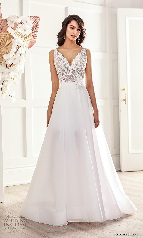 paloma blanca fall 2021 bridal sleeveless straps v neckline embellished lace short wedding dress clean a line overskirt (7) mv