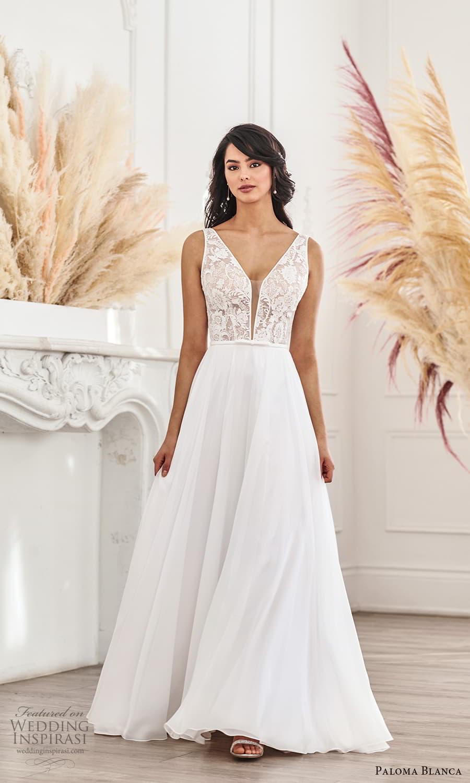 paloma blanca fall 2021 bridal sleeveless thick straps plunging v neckline lace bodice clean skirt a line wedding dress chapel train v back (11) mv