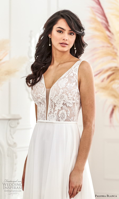 paloma blanca fall 2021 bridal sleeveless thick straps plunging v neckline lace bodice clean skirt a line wedding dress chapel train v back (11) zv