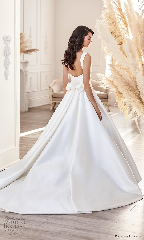 paloma blanca fall 2021 bridal sleeveless thick straps square neckline clean minimalist a line ball gown wedding dress chapel train (3) bv