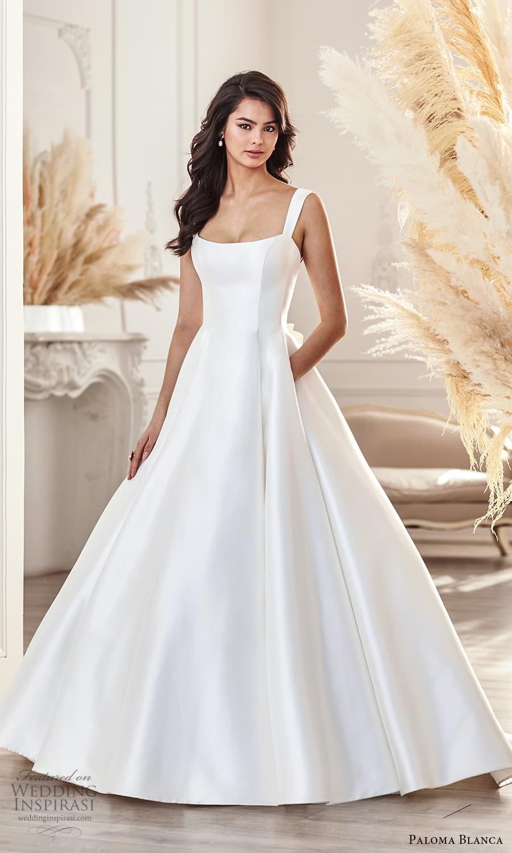 paloma blanca fall 2021 bridal sleeveless thick straps square neckline clean minimalist a line ball gown wedding dress chapel train (3) mv