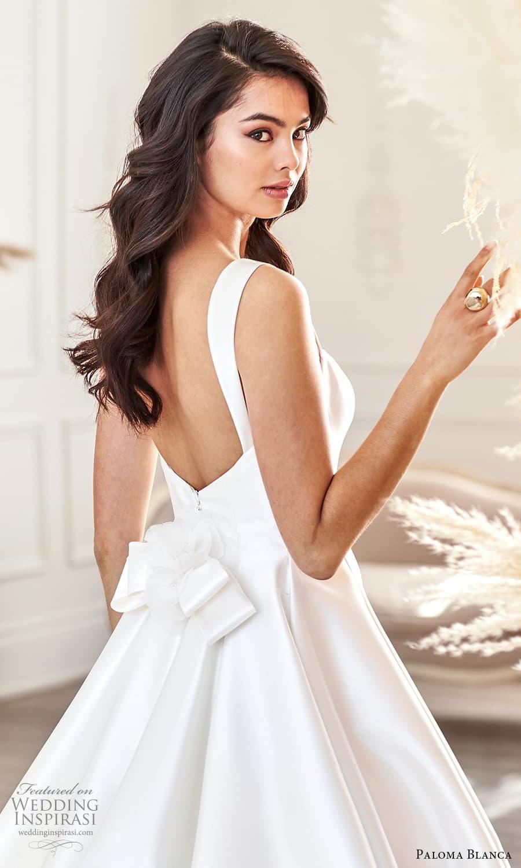 paloma blanca fall 2021 bridal sleeveless thick straps square neckline clean minimalist a line ball gown wedding dress chapel train (3) zbv