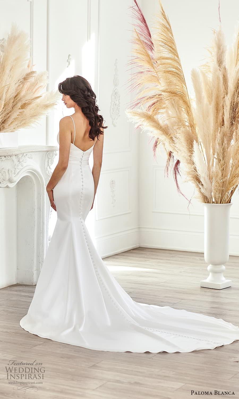 paloma blanca fall 2021 bridal sleeveless thin straps sweetheart neckline clean minimalist fit flare sheath wedding dress chapel train (8) bv