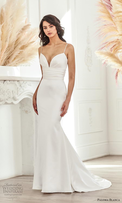 paloma blanca fall 2021 bridal sleeveless thin straps sweetheart neckline clean minimalist fit flare sheath wedding dress chapel train (8) mv