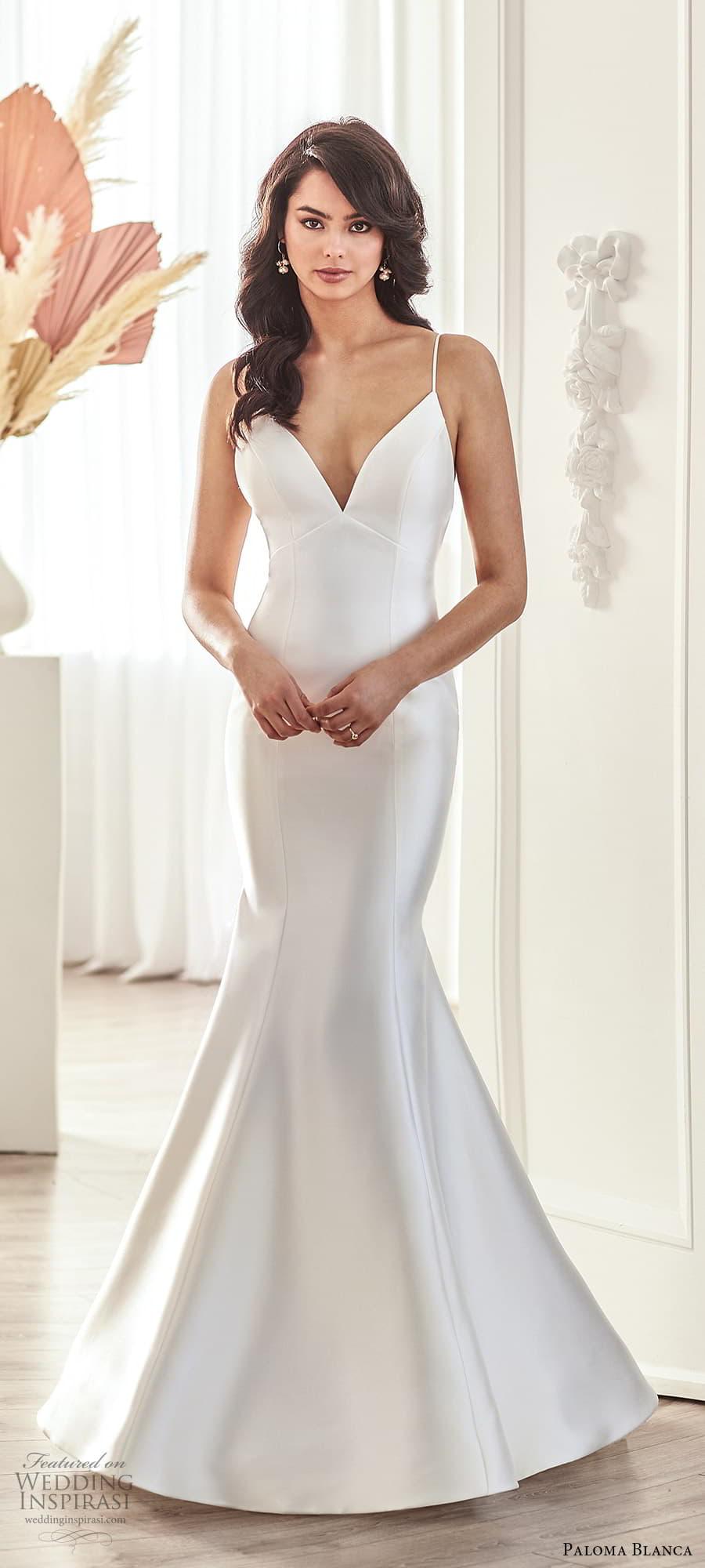 paloma blanca fall 2021 bridal sleeveless thin straps v neckline clean minimalist fit flare mermaid wedding dress chapel train (10) mv