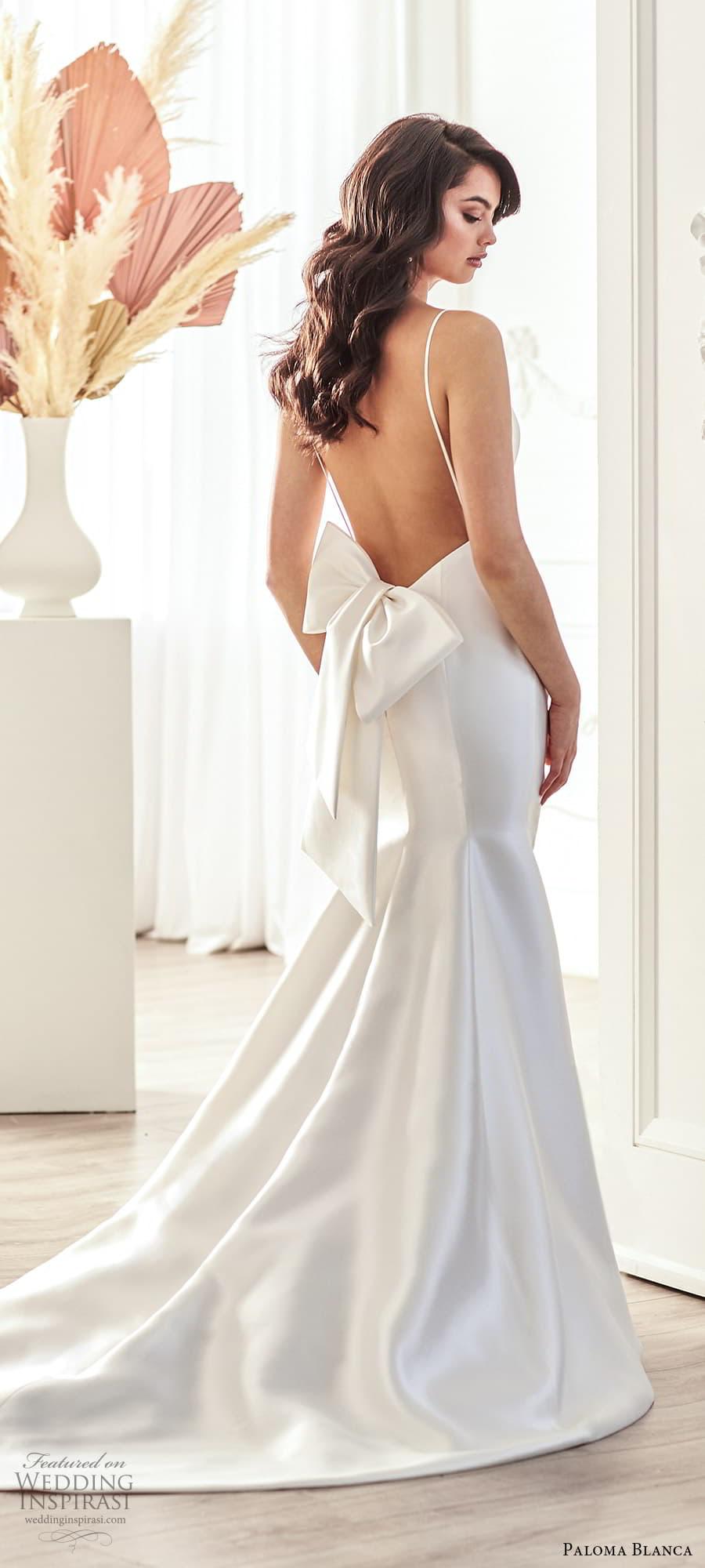 paloma blanca fall 2021 bridal sleeveless thin straps v neckline clean minimalist fit flare mermaid wedding dress chapel train bow open back (10) mv
