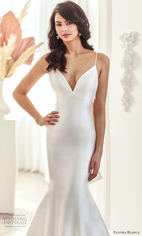 paloma blanca fall 2021 bridal sleeveless thin straps v neckline clean minimalist fit flare mermaid wedding dress chapel train bow open back (10) zv